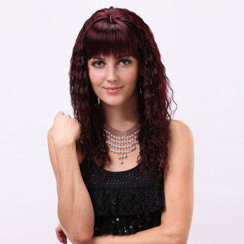 Gorgeous Full Bang Long Curly Synthetic Wig -  BURGUNDY