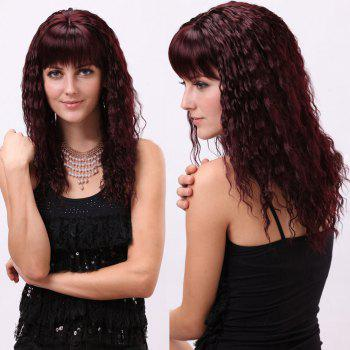 Gorgeous Full Bang Long Curly Synthetic Wig - BURGUNDY BURGUNDY