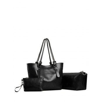 Chain PU Leather Embossed Shoulder Bag