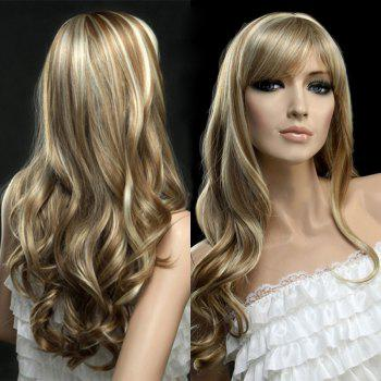 Golden Highlights Long Wavy Side Bang Synthetic Wig - COLORMIX COLORMIX