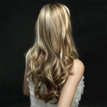 Golden Highlights Long Wavy Side Bang Synthetic Wig - COLORMIX