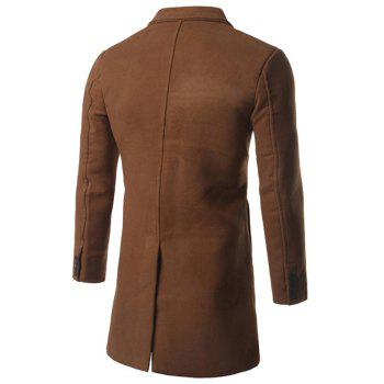 Back Vent Notch Lapel Woolen Coat - CAMEL 3XL