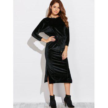 Three Quarter Sleeve Midi Velvet Blouson Dress