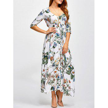 Plunging Neck Printed Shirred Maxi Dress