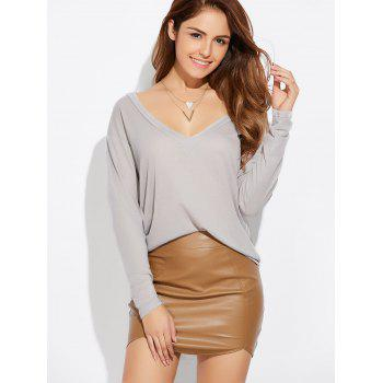 Casual Plunging Neck Loose Knitwear