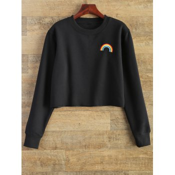Raw Edge Rainbow Cropped Sweatshirt