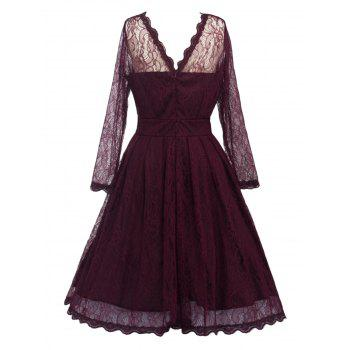 Swing Lace Full Sleeve Skater Homecoming Formal Dress with Sleeves - WINE RED M