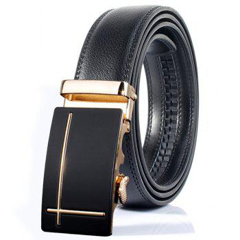Perpendicular Line Polished Automatic Buckle Wide Belt - GOLDEN GOLDEN