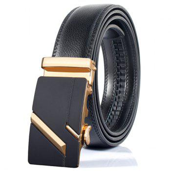 Paralleled Line Simple Automatic Buckle Wide Belt - GOLDEN GOLDEN