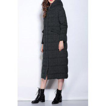 Hooded Zipper Fly Buttoned Long Down Coat - BLACK XL