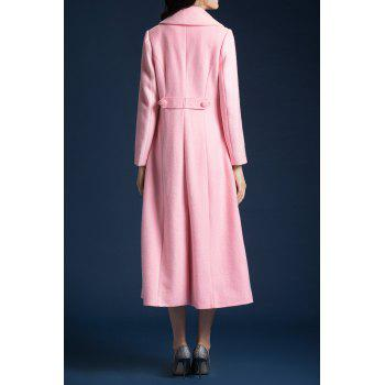 Wool Blend Skirted Longline Coat - SHALLOW PINK S