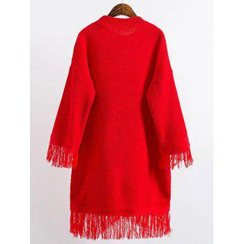 Long Sleeve Mini Slouchy Jumper Dress with Fringe - RED ONE SIZE