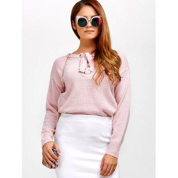 Lace-Up Loose Casual Sweater - LIGHT PINK LIGHT PINK