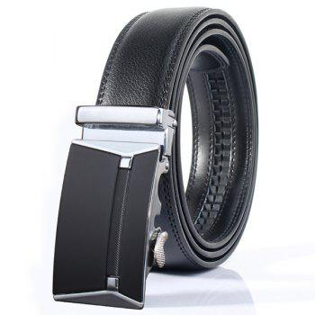 Polished Rectangle Automatic Buckle Stylish Wide Belt - SILVER SILVER