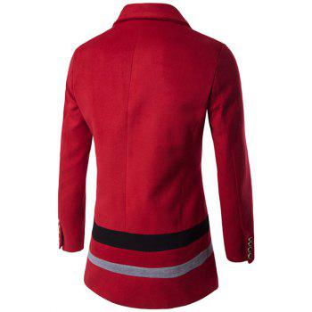 Oblique Single Breasted Stirpe Design Wool Coat - RED XL