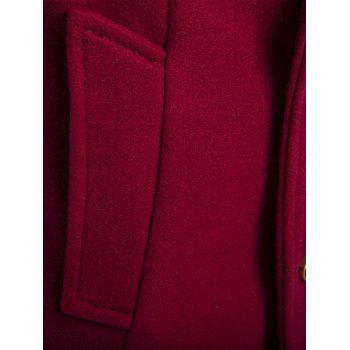 Turndown Collar PU-Leather Spliced Double Breasted Coat - RED L