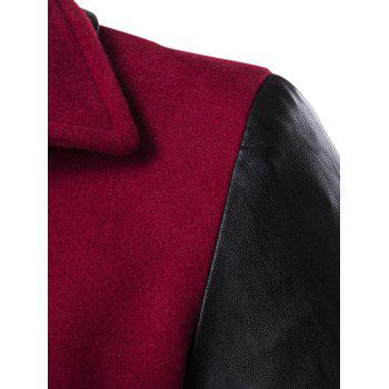 Turndown Collar PU-Leather Spliced Double Breasted Coat - RED 3XL
