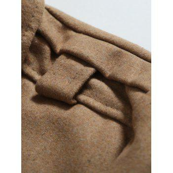 Double Breasted Epaulet Embellished Woolen Coat - CAMEL M