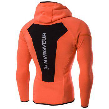 Color Block Spliced Graphic Print Raglan Sleeve Sport Hoodie - ORANGE M