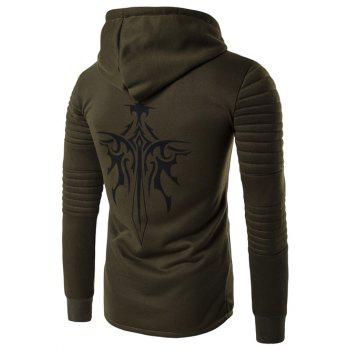 Longline Graphic Print Zip Up Rib Design Hoodie - ARMY GREEN 2XL