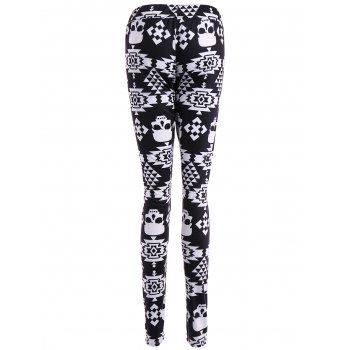 Skull Print Stretchy Leggings - BLACK M