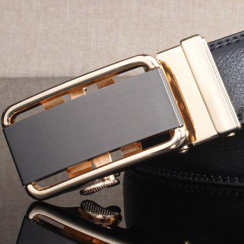Rounded Rectangle Automatic Buckle Stylish Wide Belt -  GOLDEN