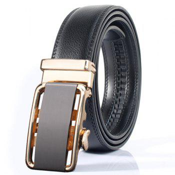 Rounded Rectangle Automatic Buckle Stylish Wide Belt - GOLDEN GOLDEN