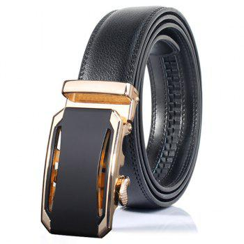 Faux Leather Stylish Automatic Buckle Wide Belt - GOLDEN GOLDEN