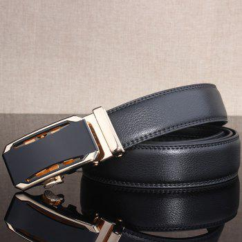 Faux Leather Stylish Automatic Buckle Wide Belt - GOLDEN