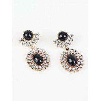 Rhinestone Oval Drop Earrings - BLACK