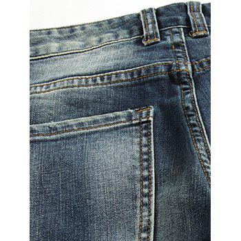 Slim Fit Low Waisted Zip Fly Distressed Jeans - BLUE 28