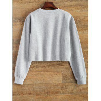 Raw Edge Cropped Sweatshirt - GRAY S