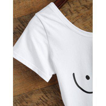 Funny Tits Print Jersey Crop Tee Shirt - WHITE S