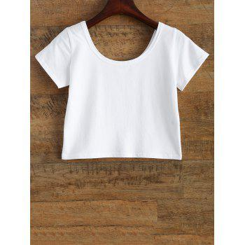 Funny Tits Print Jersey Crop Tee Shirt - WHITE M