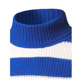 Texture Turtleneck Striped Sweater - ROYAL L