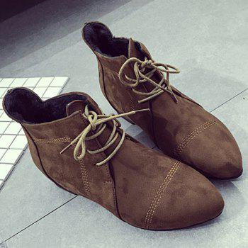 Point Toe Lace Up Flat Boots - DEEP BROWN 37