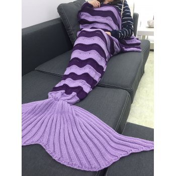Warmth Stripe Pattern Knitting Mermaid Tail Blanket - PURPLE