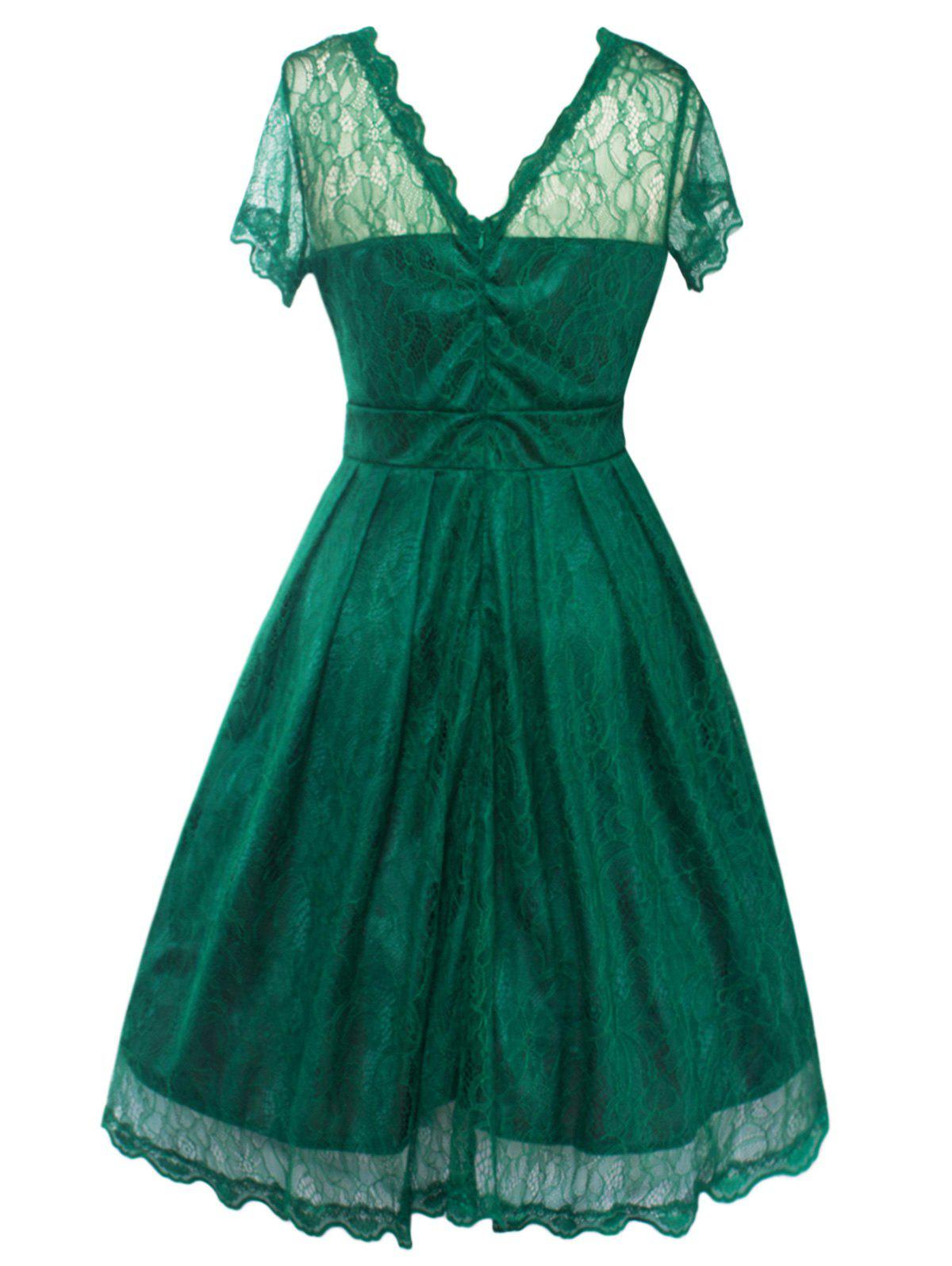Funky Short Wedding A Line Dress With Sleeves - GREEN M