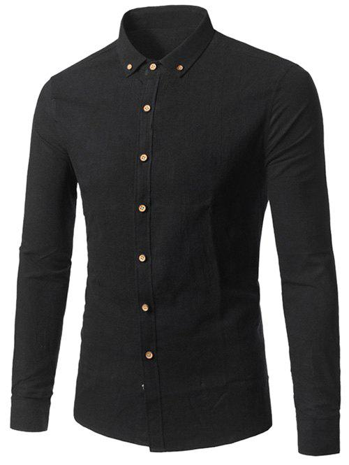 Plain Long Sleeves Button Down Shirt - BLACK 2XL
