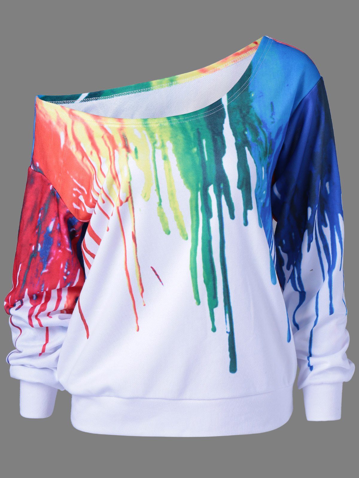 Paint Drip Skew Collar Sweatshirt - WHITE 2XL
