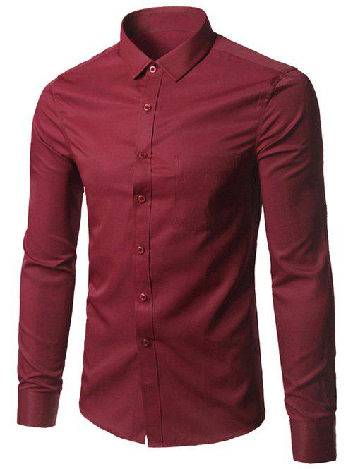 Button Up Chest Pocket Plain Shirt - BURGUNDY M