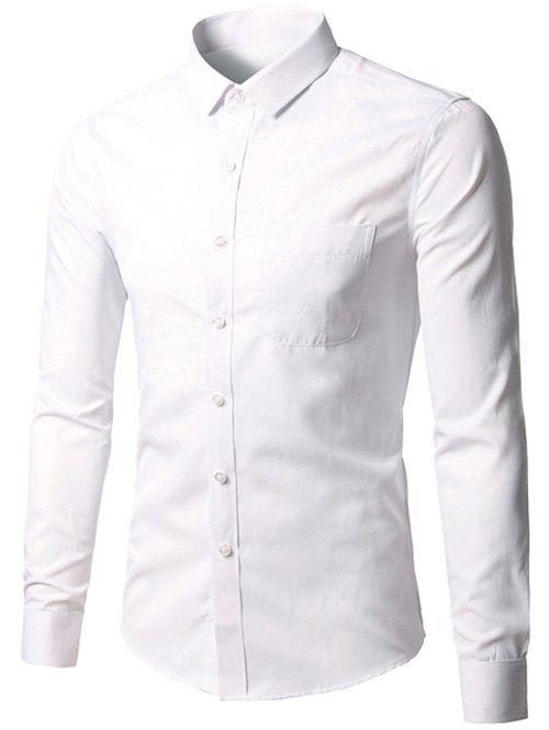 Button Up Chest Pocket Plain Shirt - WHITE 3XL