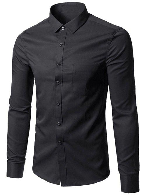 Button Up Chest Pocket Plain Shirt - BLACK 5XL
