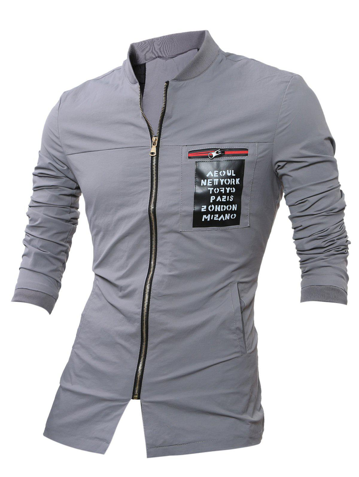 PU Leather Applique Stand Collar Zip Up Jacket - GRAY XL