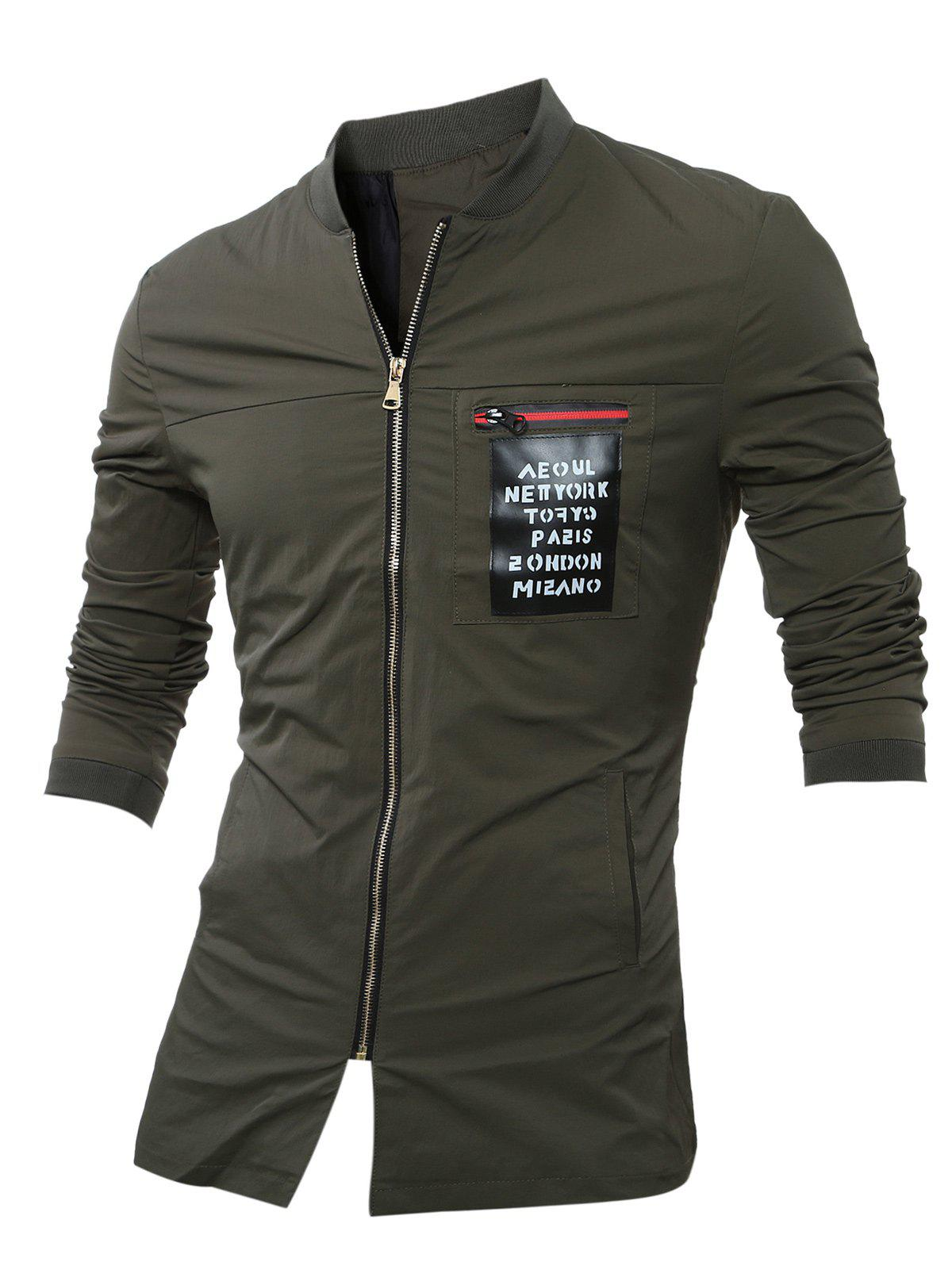 PU Leather Applique Stand Collar Zip Up Jacket - ARMY GREEN XL