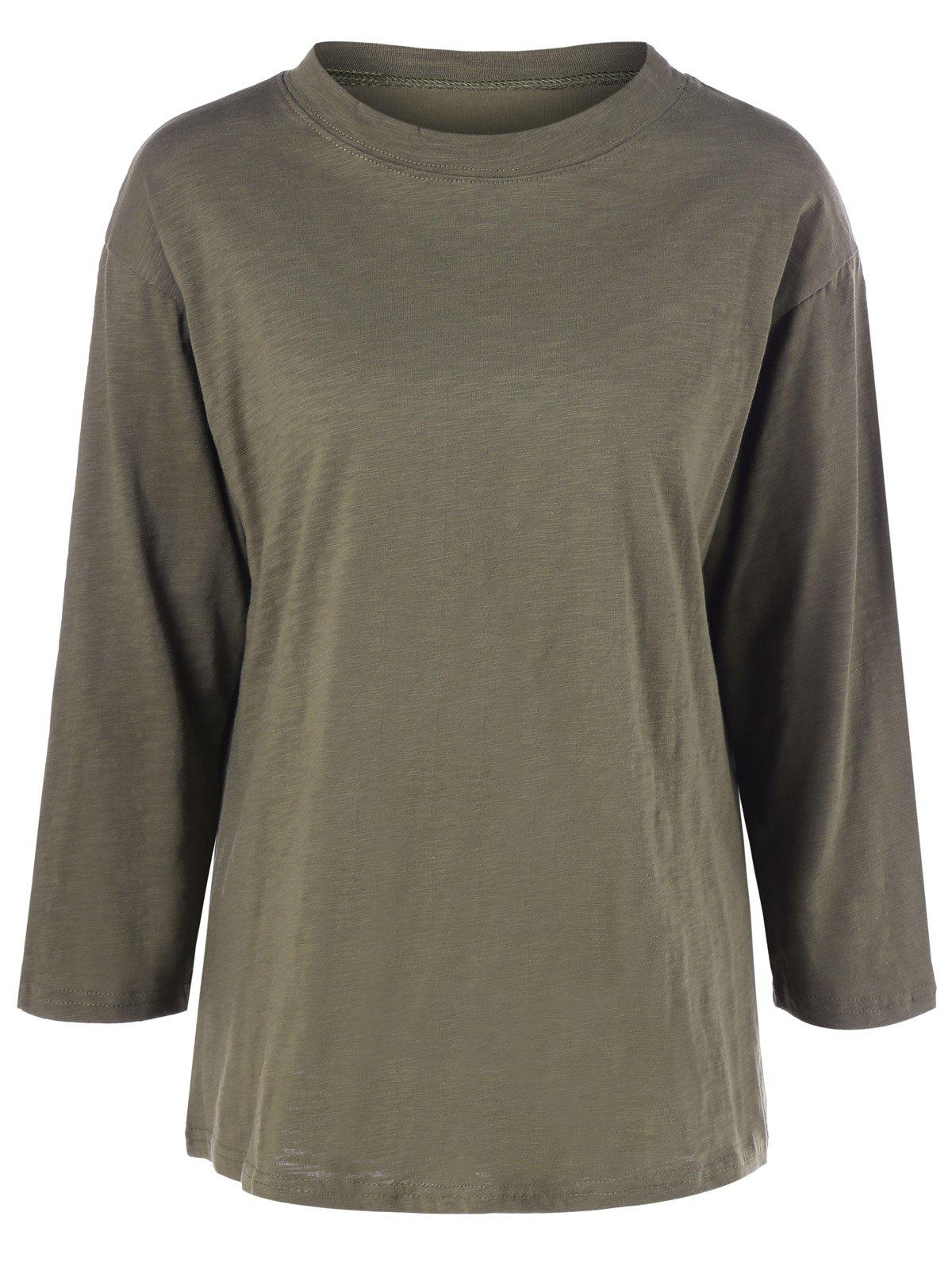 Plus Size Long Sleeve T Shirt - ARMY GREEN 2XL
