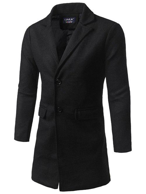 Flap Pocket Texture Back Vent Two Button Coat - BLACK 2XL