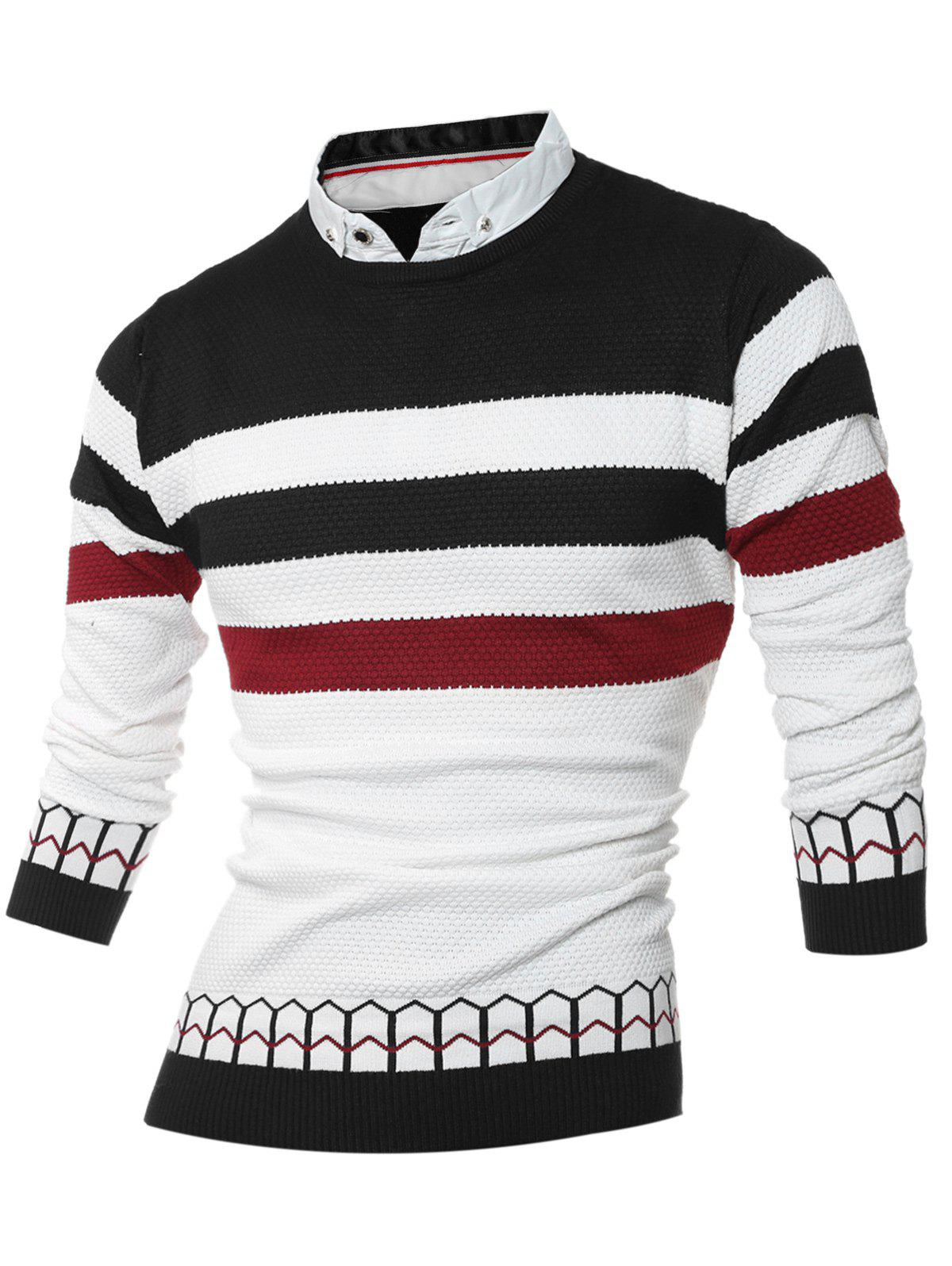 Shirt Collar Faux Twinset Color Block Stripe Spliced Knitting Sweater - BLACK M