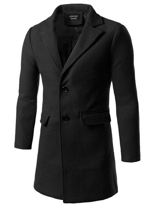 Back Vent Single Breasted Woolen Coat - BLACK M