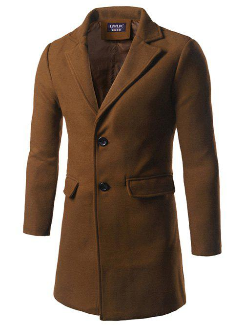Back Vent Single Breasted Woolen Coat - CAMEL XL